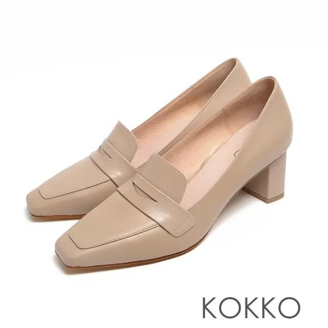 【KOKKO 集團】超平頭樂福素面柔軟小羊皮粗跟鞋(駝灰色)