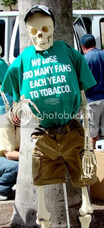 My buddy, Fred, isnt too fond of tobacco. Can ya blame him?