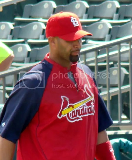 Albert Pujols hocking a loogie. Eww....