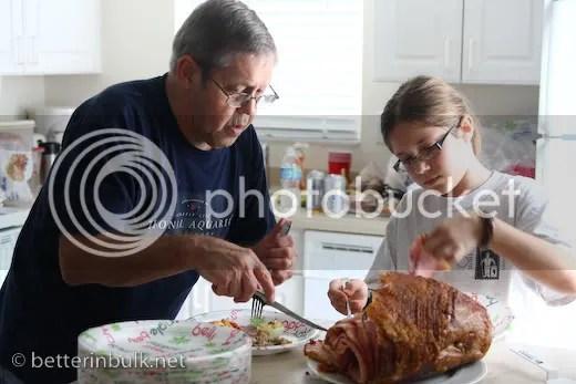 serving the honey baked ham
