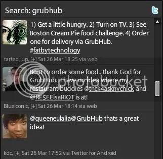 Tweetdeck Search for GrubHub