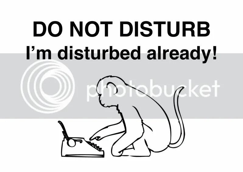 do not disturb the typing monkey