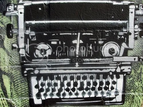 graffiti typewriter on wall