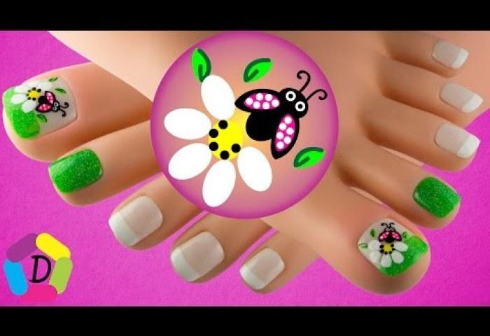 Youtube Flor Y Mariquita En Frances Decoración De Uñas Para Pies
