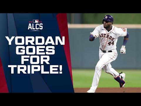WHEELS! Astros' Yordan Alvarez hits TRIPLE, then scores on crazy defensive play