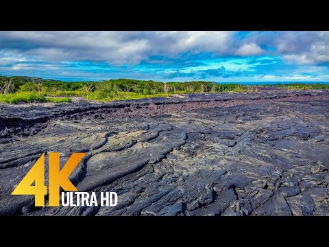 4K Aerial Relax Video - Amazing Lava Fields of Big Island from the Height of Bird's Flight