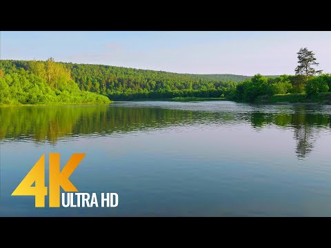 Peacefull Serenity of Yuryuzan River, Ural Area, Russia - 4K Relaxation Video with Nature Sounds