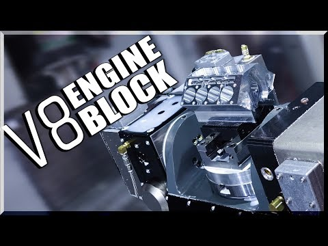 5-Axis CNC Machined V8 Engine Block!