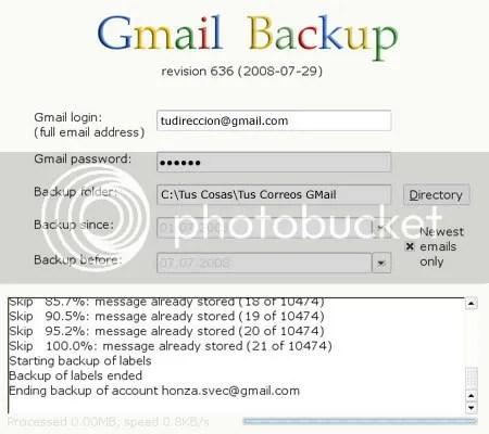 GMAIL BACKUP. Interfáz sencilla para descargar tu correo GMail.