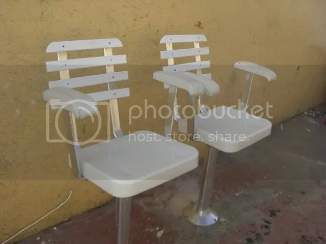 Pair of Pompanette helm chairs captain seats Nice and