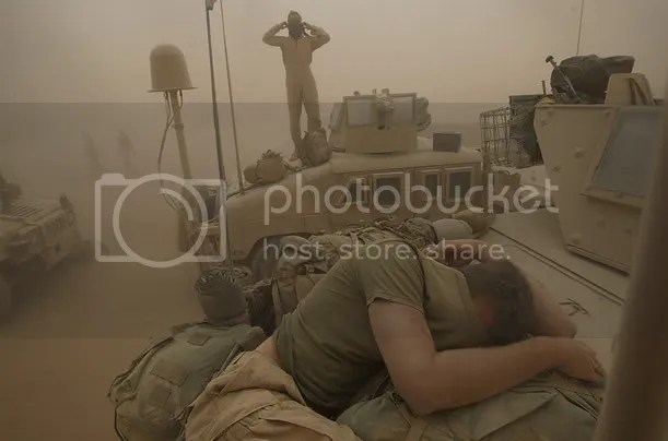 US Troops in an Afghan sandstorm