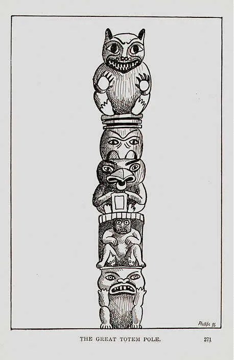 1902 American INDIAN Totem Pole Legends Pacific Northwest