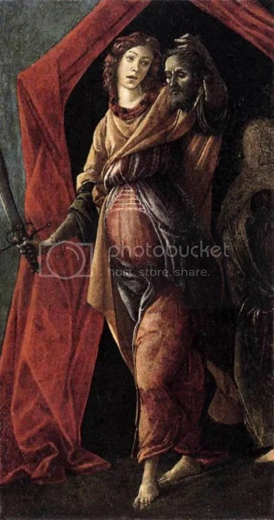 Detail of Judith with the head of Holofernes. Judith was a Jewish widow who infiltrated an invading Assyrian camp planning to destroy her village. After seducing the general of the army, she cuts off his head in his tent while he lay passed out in a drunken stupor. Judith's violent act was taken by Florentines to be emblematic the zeal and patriotism women should feel towards their homeland. Judith's chastity after her ordeal was also praised as a model of widowhood. The image of meekness and submissiveness that a proper woman should display was thus reinforced by her sexual abstinence but complicated by her forcefully masculine act of murder.