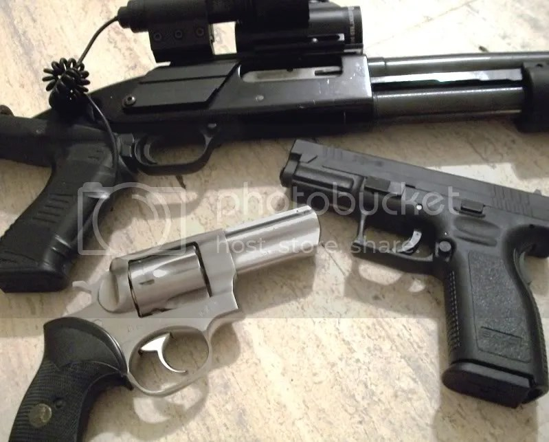 The Mossberg 500, Ruger GP100, and Springfield X-9
