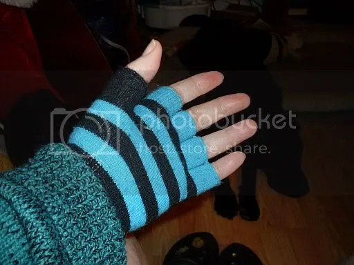 Fingerless gloves in my favorite color.