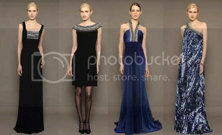 (From the Left), Jeweled Bodice and Cap-Sleeve Pleated Chiffon Gown, Stretched Wool-Crepe Sheath, Ombre Shiffon Halter Gown, Paisley Print Bias-Cut One Shoulder Gown