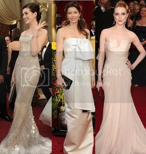 Anne Hathaway, Evan Rachel Wood and Jessica Biel all chose neutral shades for their strapless gowns