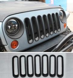 details about efl black front grille grid guard insert trim cover for 07 2015 jeep wrangler jk [ 1024 x 1024 Pixel ]
