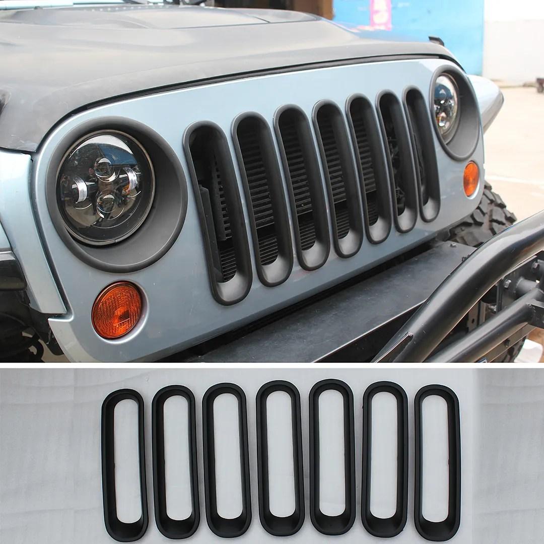hight resolution of details about efl black front grille grid guard insert trim cover for 07 2015 jeep wrangler jk