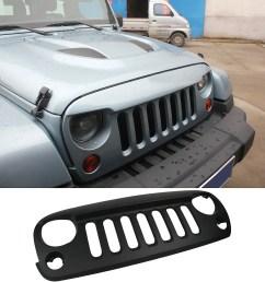 details about mak matte black front grille grid grill cover guard for 2007 2015 jeep wrangler [ 1024 x 1024 Pixel ]