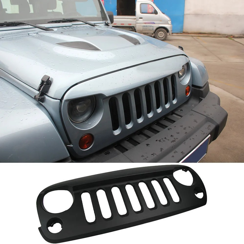 medium resolution of details about mak matte black front grille grid grill cover guard for 2007 2015 jeep wrangler