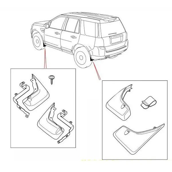 Parafango Anteriori e Posteriori per 2010-2016 Land Rover