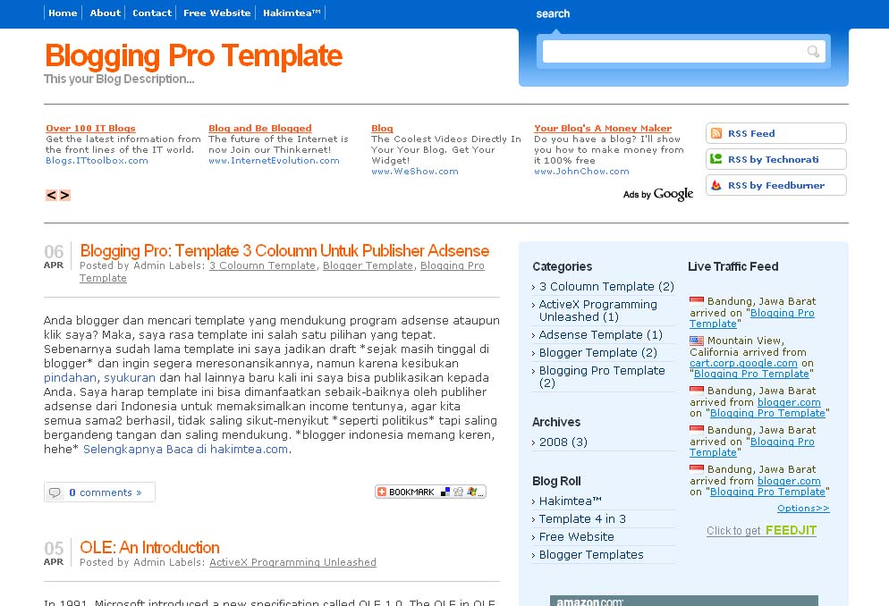 Preview: Template 3 Coloumn Untuk Publisher Adsense