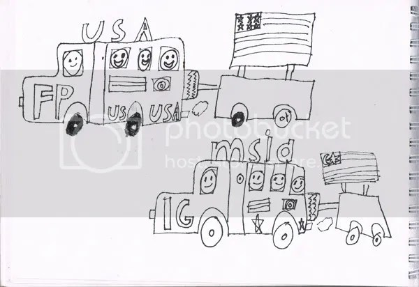 children's drawing, children's doodle,carnival trucks