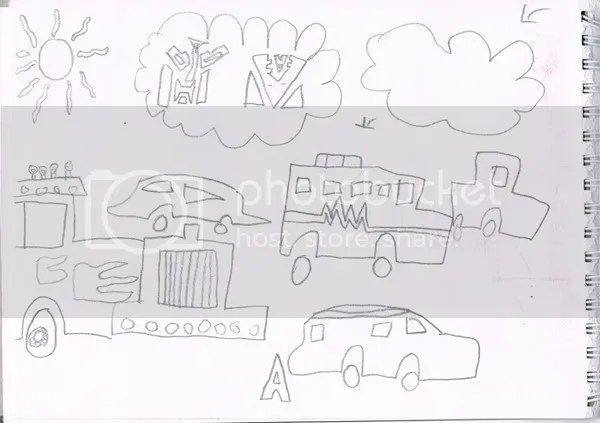 children's drawing, children's doodle, trucks