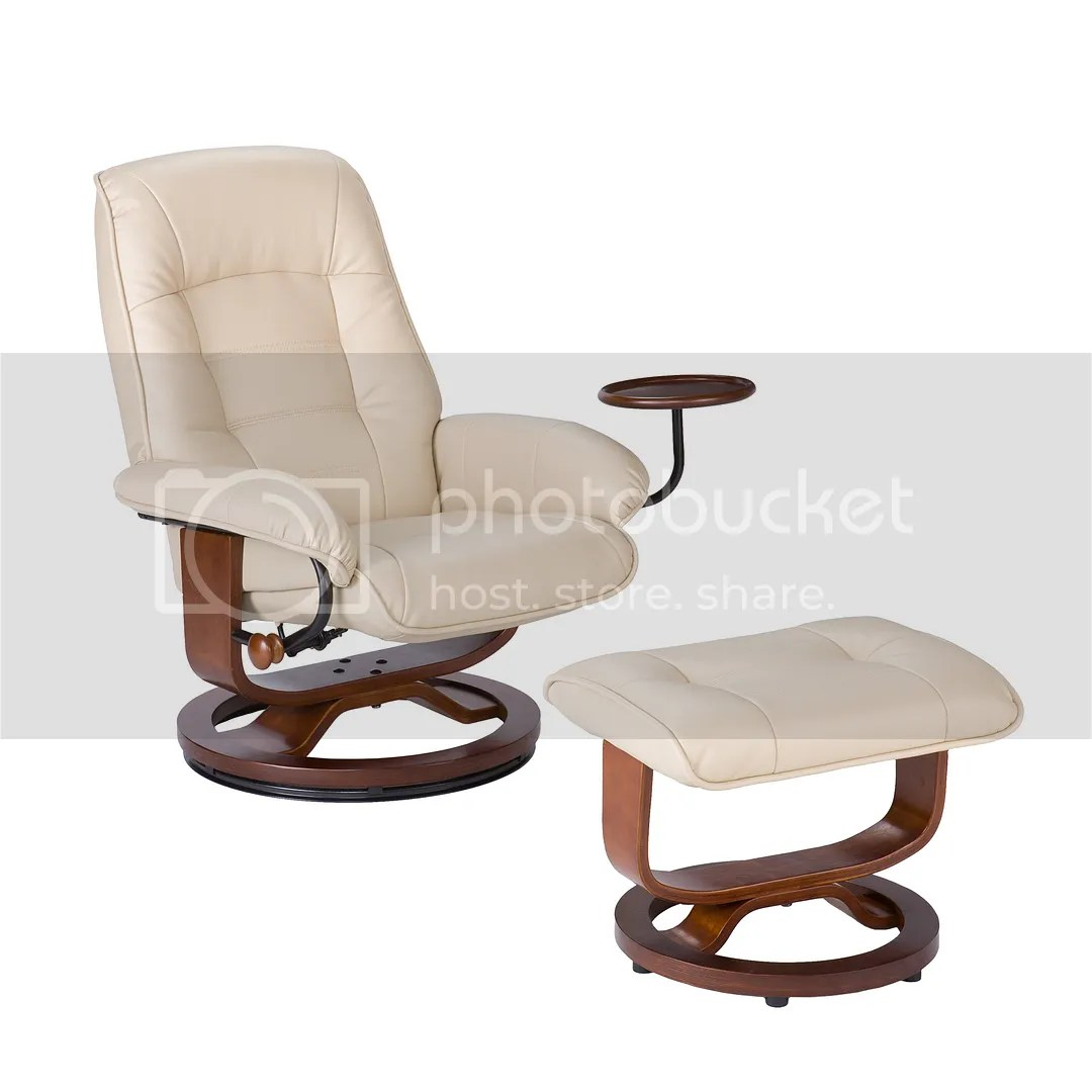 Ergonomic Living Room Chair Ergonomic Cream Leather Recliner Swival Chair And Ottoman