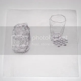 cup and diet coke can napkin drawing