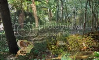 a deer mouse and mouse deer play in the spacially nonsensical forest brush