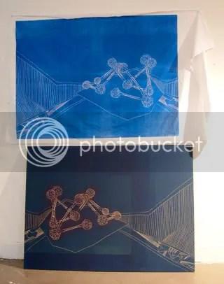 large blue MDF woodcut print