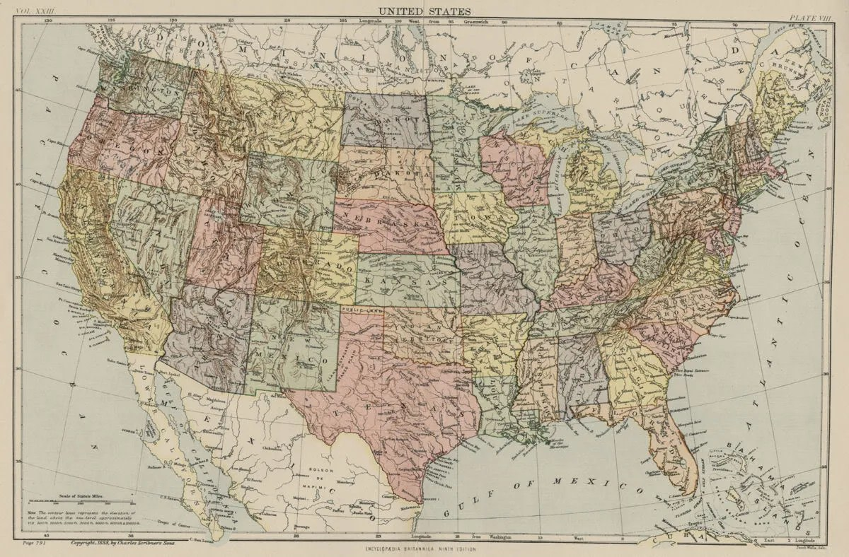 United States Map With Rivers And Mountain Ranges