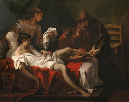 Saint Antoine de Padoue guérissant un malade. Sébastiano Ricci. XVIIe siècle.