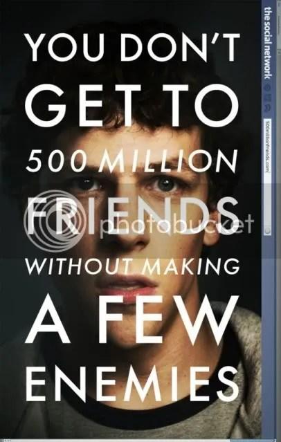 Social Network poster, Eisenberg as Zuckenberg