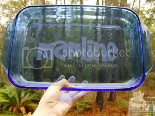 Etched Blue Pyrex Dish
