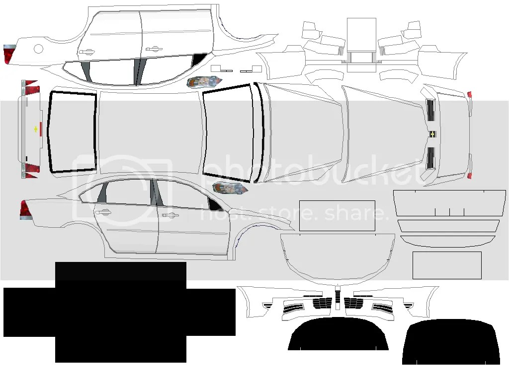 Black And White Car Paper Model Templates