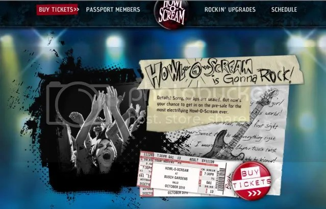 Busch Garden's Howl-O-Scream Website