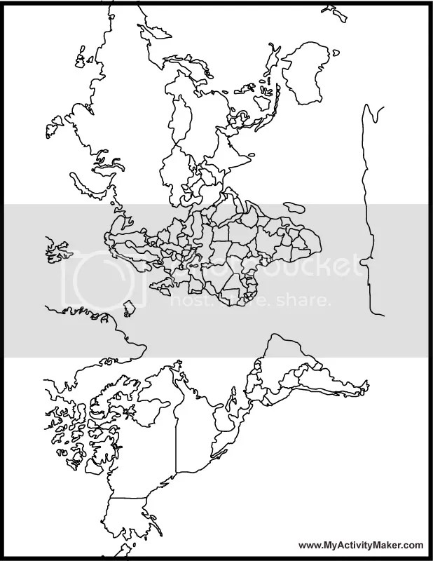 Printable Coloring Pages: World Map Coloring Pages