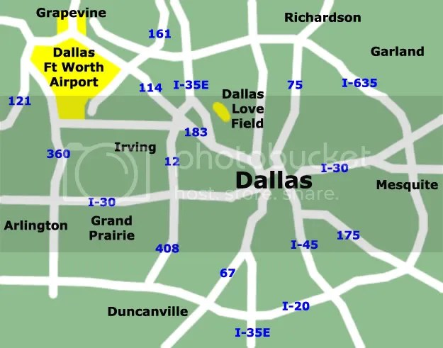 Dallas Map Showing Airports