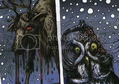 zombie reindeer and an owl.. this is either the best comic Ive ever seen or the worst.