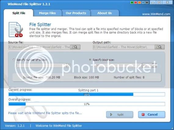 Winmend File Splitter: Cắt và nối file nhanh hơn