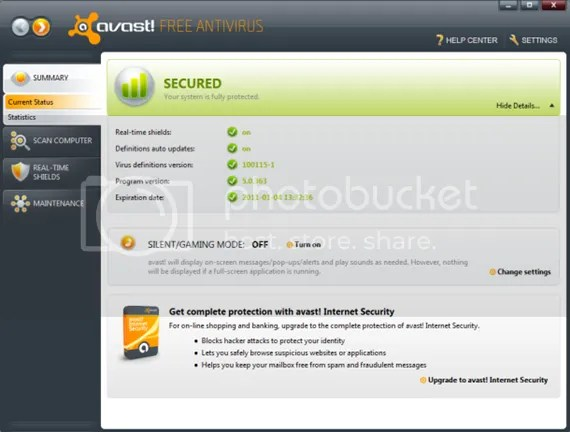 Download avast! Free Antivirus 5.0