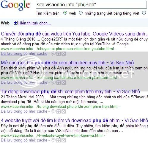 Dùng Google để tìm kiếm trong một trang web