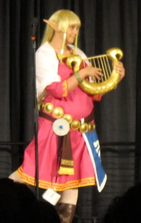 Zelda and harp