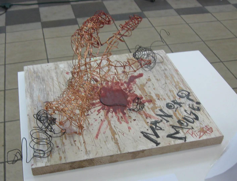 Man or Mouse, wire scuplture, high school art class