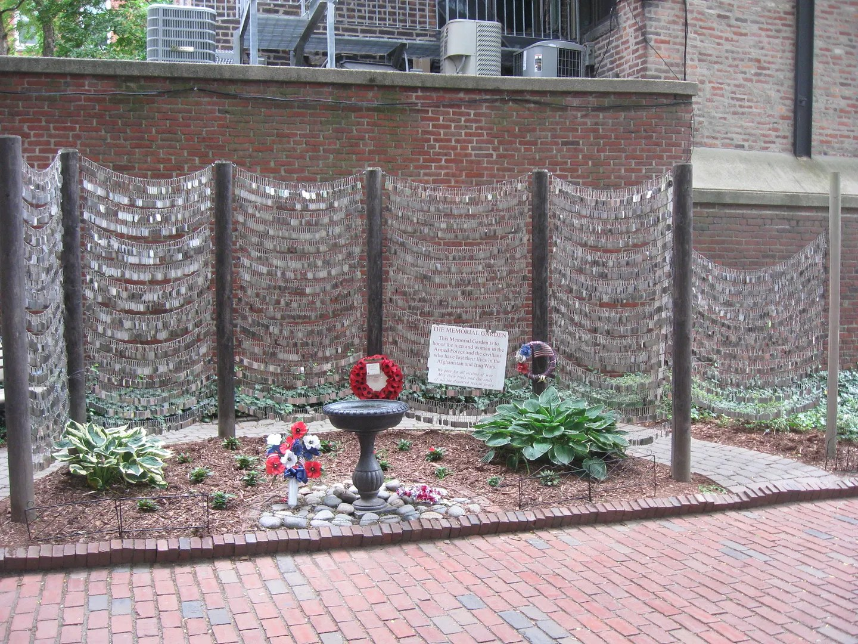 Memorial Garden, dog tags, Boston