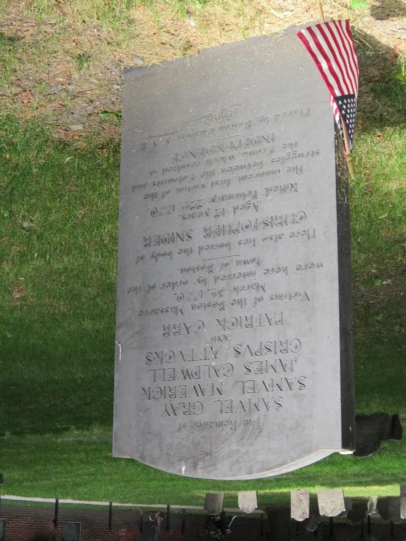 Boston Massacre victims tombstone, Granary Burying Ground, Boston