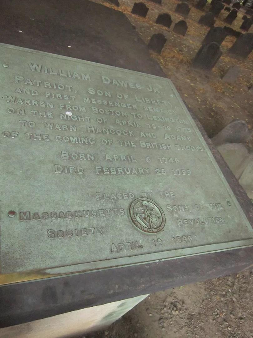William Dawes Jr. gravesite, Granary Burying Ground, Boston